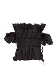 Brock Collection Off Shoulder Ruched Peplum Bodice Top Black