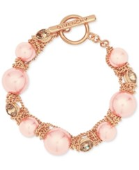 Givenchy Rose Gold Tone Pink Bead And Crystal Toggle Bracelet
