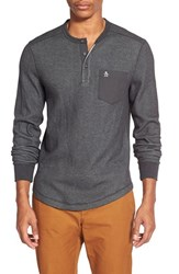 Men's Original Penguin Waffle Knit Pocket Henley Dark Charcoal