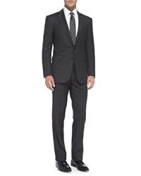 Ralph Lauren Black Label Anthony Textured Windowpane Suit Charcoal