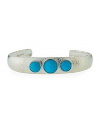 Gurhan Galapagos Wide Sterling Cuff W Turquoise Bezels Silver