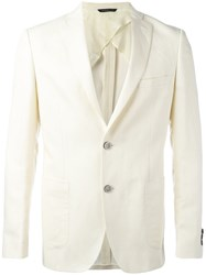Tonello Classic Blazer Men Linen Flax Cupro Virgin Wool 52 White
