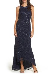 Adrianna Papell Women's Sequin High Low Gown Navy
