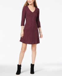 Ny Collection Petite V Neck Cable Knit Sweater Dress Teresa