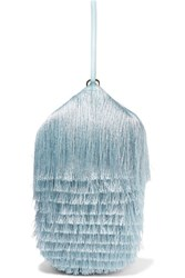 Hillier Bartley Lantern Fringed Leather Clutch Light Blue