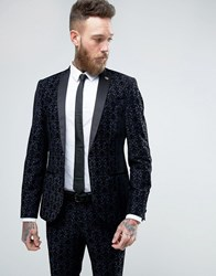 Noose And Monkey Super Skinny Suit Jacket With Floral Flocking Navy