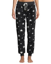 Pj Salvage Dreamer Star Print Fleece Jogger Pants Black Pattern