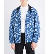 Versace Baroque Print Shell Jacket Blue