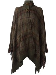 Ralph Lauren Checked Poncho Green