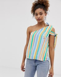 Pepe Jeans Luna Stripe Asymmetric Sleeve Top Multi