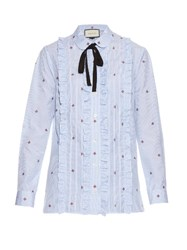 Gucci Bee Fil Coupe Cotton Shirt Light Blue