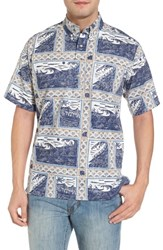 Reyn Spooner Molokai To Oahu Button Down Polo Navy