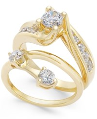 Macy's Diamond Interlocking Bridal Set 1 1 2 Ct. T.W. In 14K Gold Yellow Gold