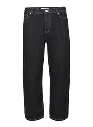 Topman Black Cropped Wide Leg Fit Jeans
