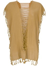 Caravana Convertible Fringed And Distressed Top Cotton Yellow Orange