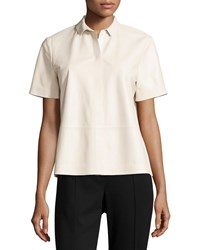 Lafayette 148 New York Maisie Leather Short Sleeve Blouse Oyster