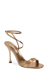 Brian Atwood Sienna Ankle Strap Sandal Bronze Metal Nappa