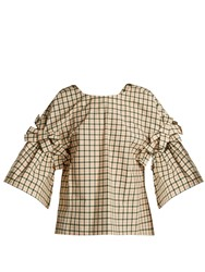 Fendi Bow Embellished Check Top Pink Multi