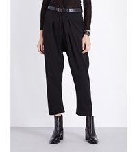 Isabel Benenato Strap Detail Tapered High Rise Wool Trousers Black