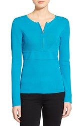 Women's Ellen Tracy Half Zip Ribbed Sweater