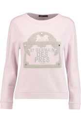 Maje Guillaume Printed Cotton Fleece Sweatshirt Pink