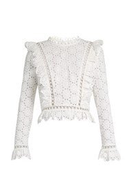 Zimmermann Divinity Wheel Broderie Anglaise Top White