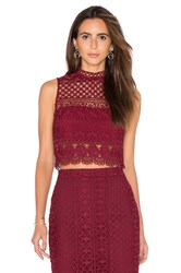 Bardot Calista Lace Top Wine
