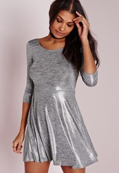 Missguided Sparkle Grey Marl 3 4 Length Sleeve Skater Dress