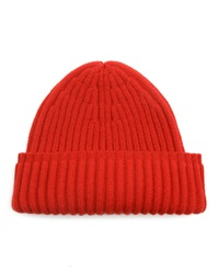 Menlook Label 100 Cashmere Tucked Ribbed Knitted Red Hat