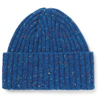 Drakes Drake's Ribbed Donegal Merino Wool Beanie Blue