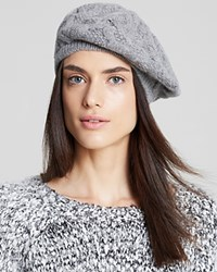 Bloomingdale's C By Cashmere Cable Knit Beret Pale Grey