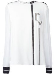 Versace Crystal Mesh Embellished Blouse White