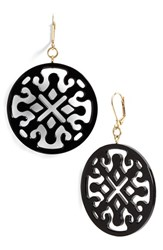 Women's L. Erickson Medallion Filigree Drop Earrings Black