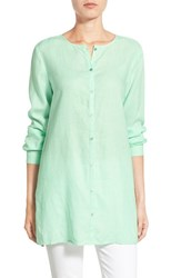 Women's Eileen Fisher Organic Linen Round Neck Long Shirt Green Mint