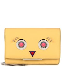 Fendi Tube Wallet On Chain Leather Shoulder Bag Yellow