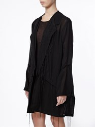Ann Demeulemeester Frayed Lightweight Coat Black