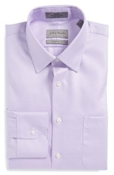 Men's John W. Nordstrom Traditional Fit Non Iron Houndstooth Dress Shirt Lavender Mist