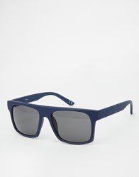 Asos Flatbrow Sunglasses In Rubberised Navy Blue