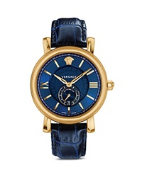 Versace Urban Gent Ion Plated Rose Gold Automatic Watch With Blue Alligator Band 44Mm Rose Blue