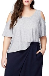 Rachel Roy Plus Size Women's Cold Shoulder Bell Top Heather Grey