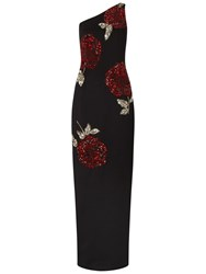 Adrianna Papell One Shoulder Beaded Scuba Gown Black Crimson
