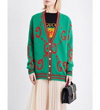 Gucci Logo Knit Wool Cardigan Gucci Green Live Red