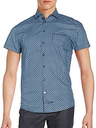 English Laundry Printed Cotton Short Sleeve Shirt Navy