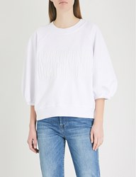 7 For All Mankind Embossed Logo Cotton Jersey Sweatshirt Bright White