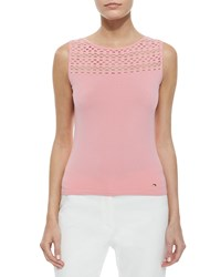 Escada Mesh Yoke Knit Tank Top Cherry Blossom