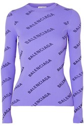 Balenciaga Printed Ribbed Knit Sweater Lilac