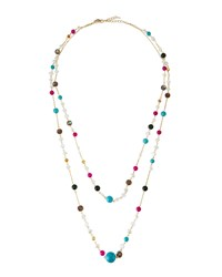 Emily And Ashley Greenbeads By Emily And Ashley Long Golden Multi Strand Crystal Beaded Necklace