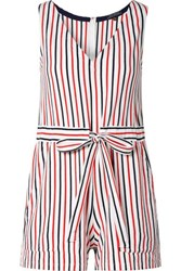 Mds Stripes Amanda Striped Cotton Jersey Playsuit Red