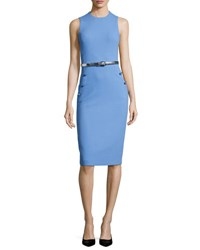 Michael Kors Boucle Belted Sleeveless Sheath Dress Blue