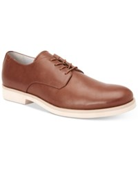 Calvin Klein Men's Faustino Washed Leather Oxfords Men's Shoes Light Brown